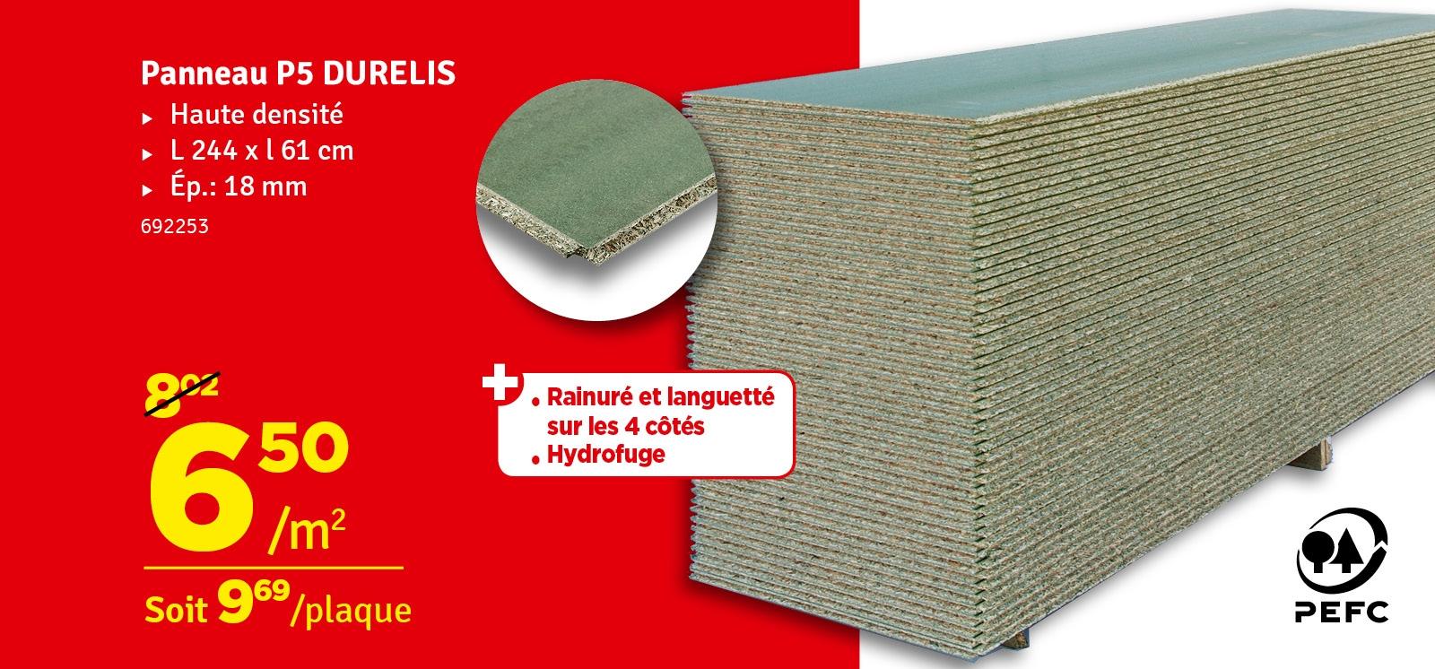 Promo - Panneau aggloméré hydrofuge Durelis dalles 61 x 244 x 1,8 cm