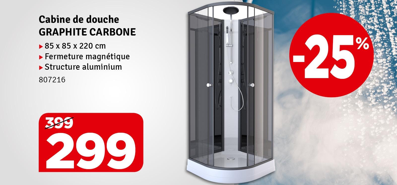 Promo - Cabine de douche Graphite Carbone 85 x 85 x 225 cm AURLANE
