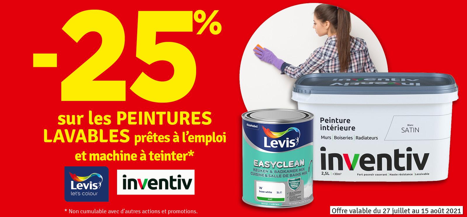 Promo - 25% sur les peintures lavables