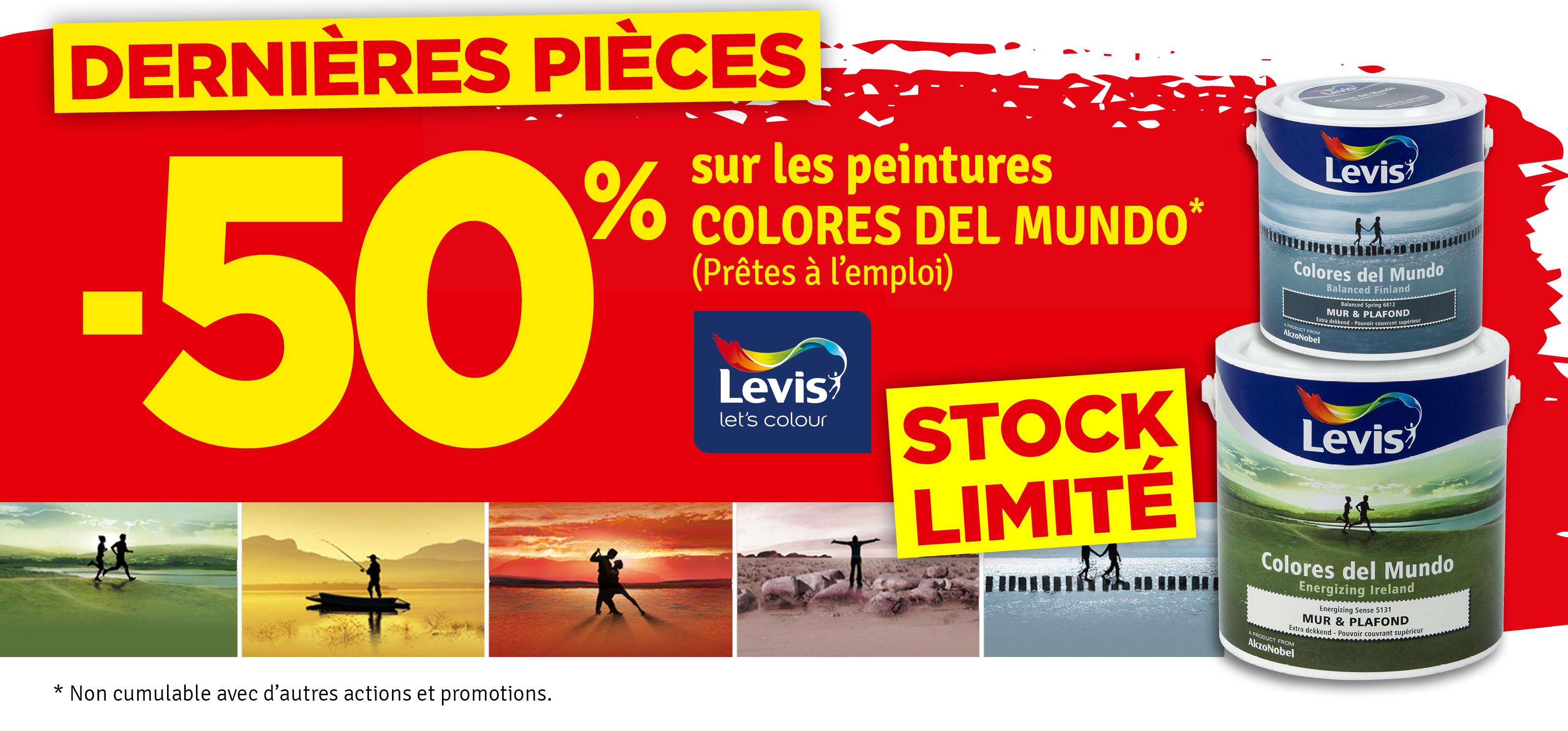 Promo - -50 % sur les peintures Colores del mundo LEVIS