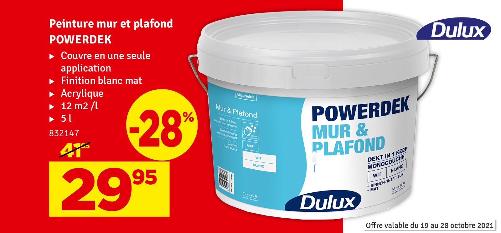 Promo - Peinture pour mur et plafond Powerdek blanc mat 5 L DULUX