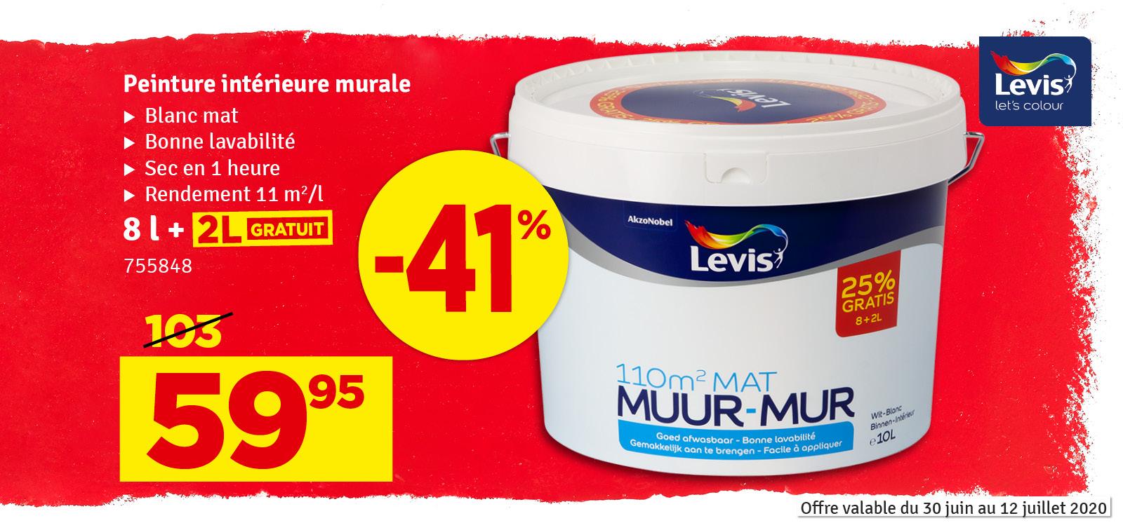 Promo - Peinture mur blanc mat Promopack 8 + 2 L LEVIS