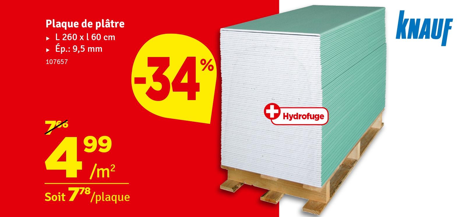 Promo - Plaque de plâtre hydrofuge Greenboard HRK 60 x 1 cm KNAUF