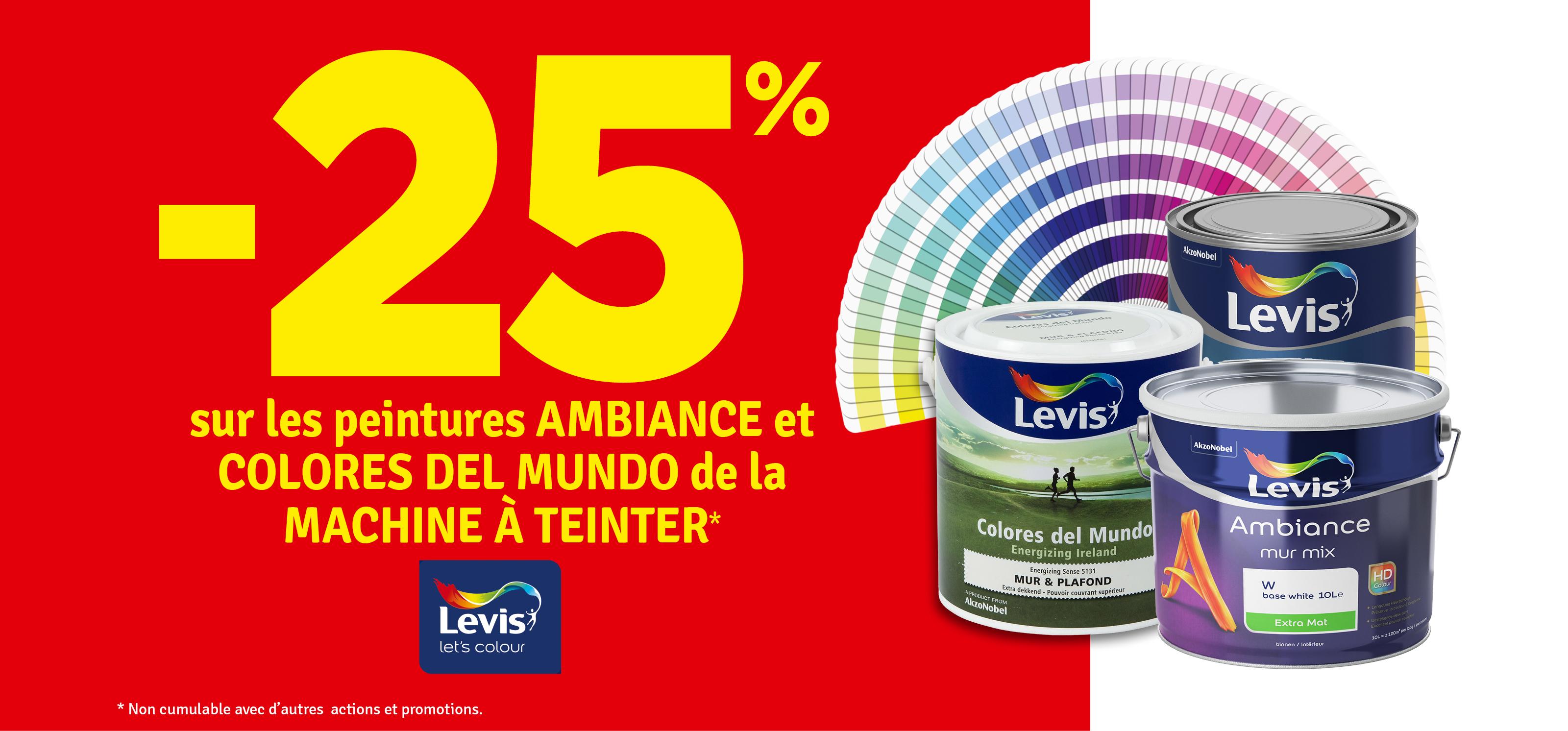 Promo - -25 % sur les peinture Ambiance et Colores del Mundo LEVIS