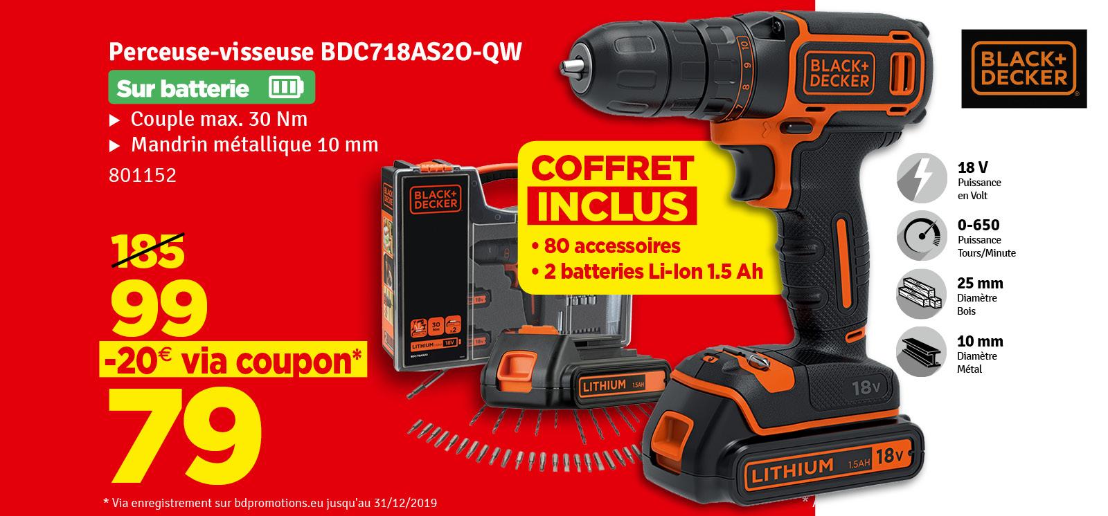Promo - Perceuse visseuse BDC718AS2O-QW 18V avec 2 batteries et 80 accessoires BLACK+DECKER