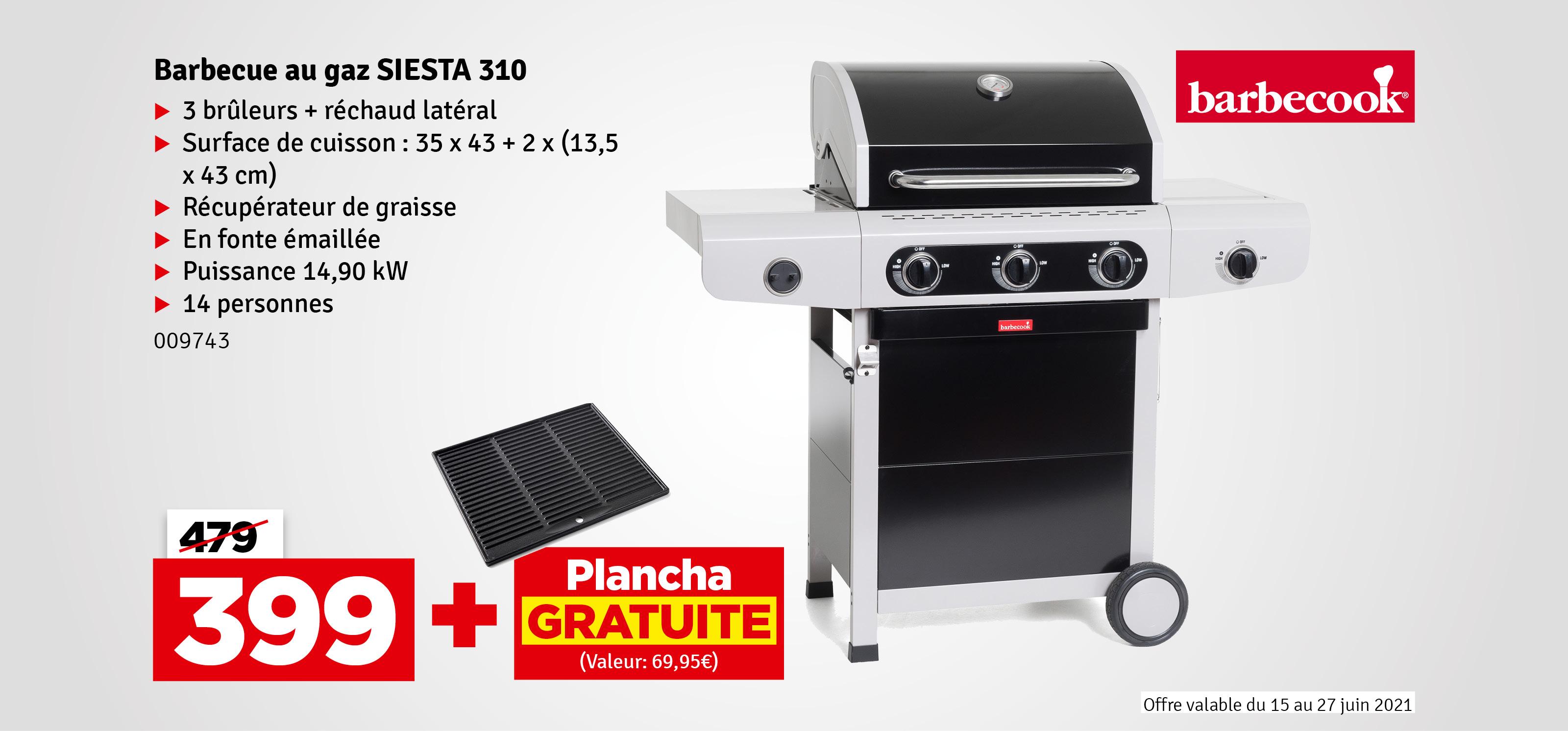 Promo - Barbecue au gaz Siesta 310 Black Edition BARBECOOK