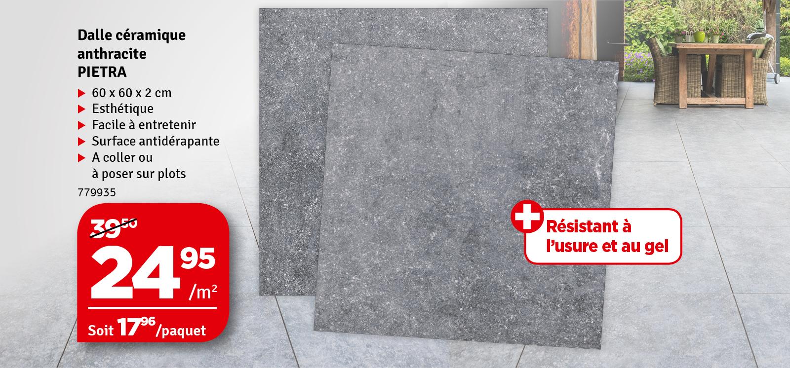 Promo - Carrelage de sol extérieur anthracite Pietra 60 x 60 cm 2 pièces COBO GARDEN