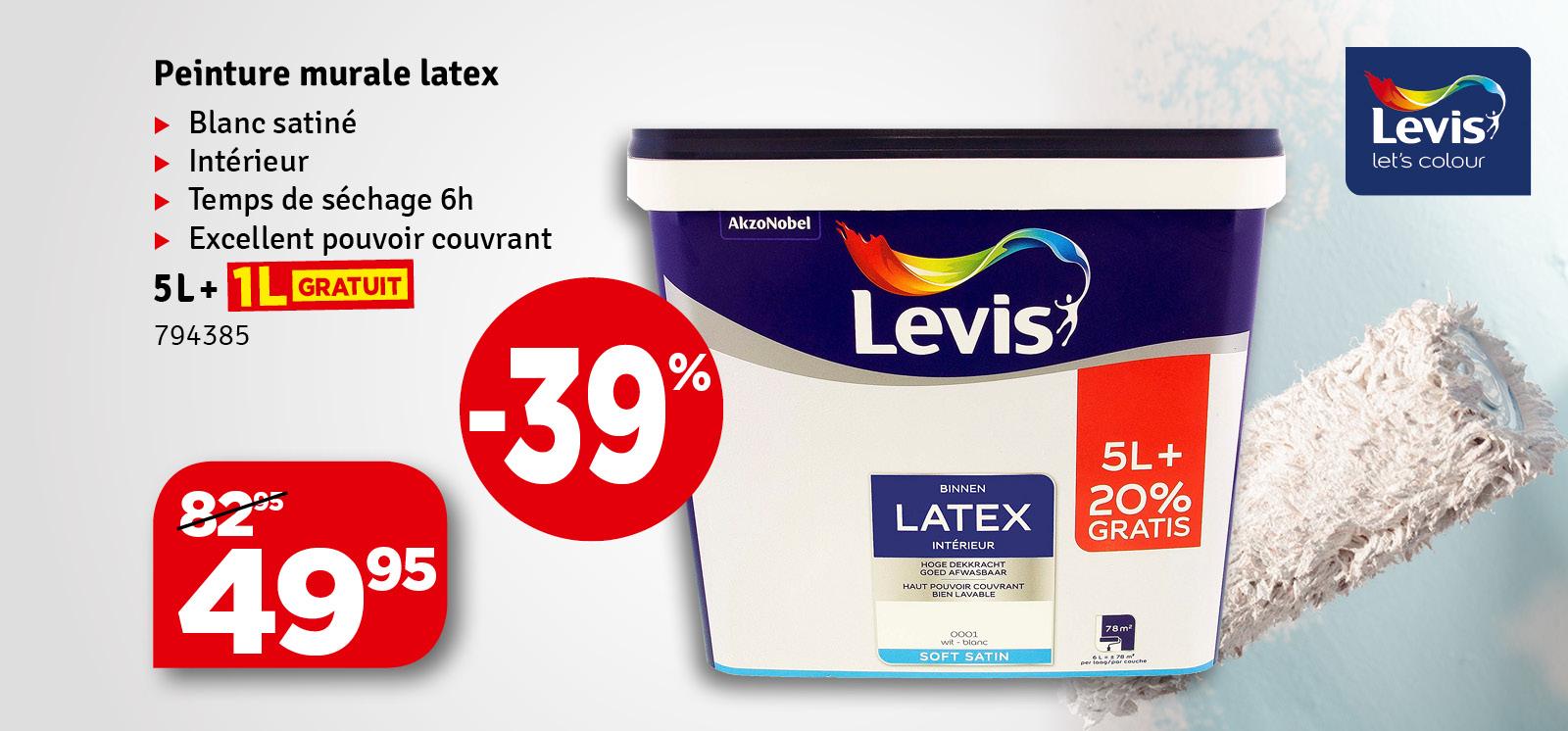 Promo - Peinture Latex blanc Promopack LEVIS
