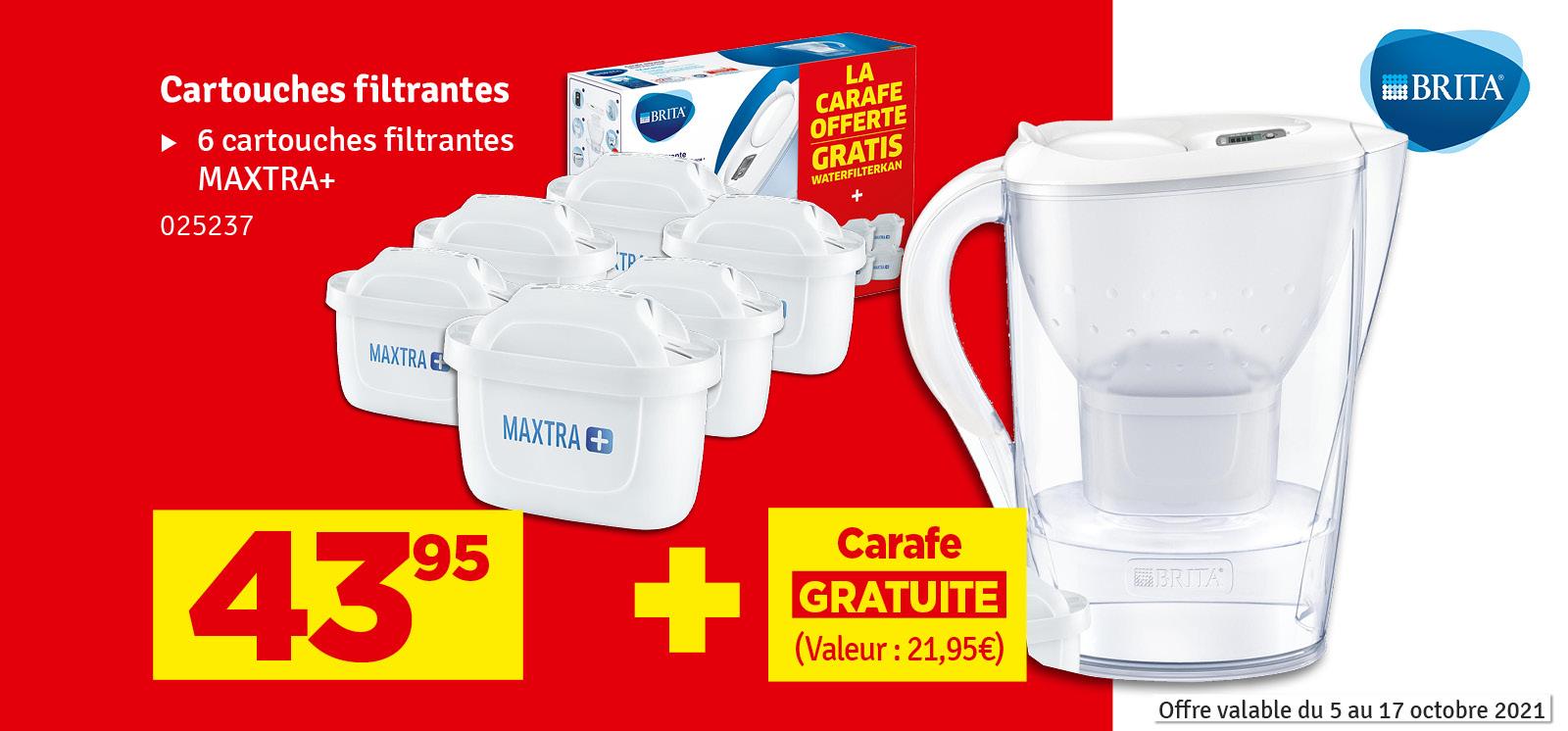 Promo - Cartouche filtrante Maxtra+ 6 pièces avec carafe BRITA