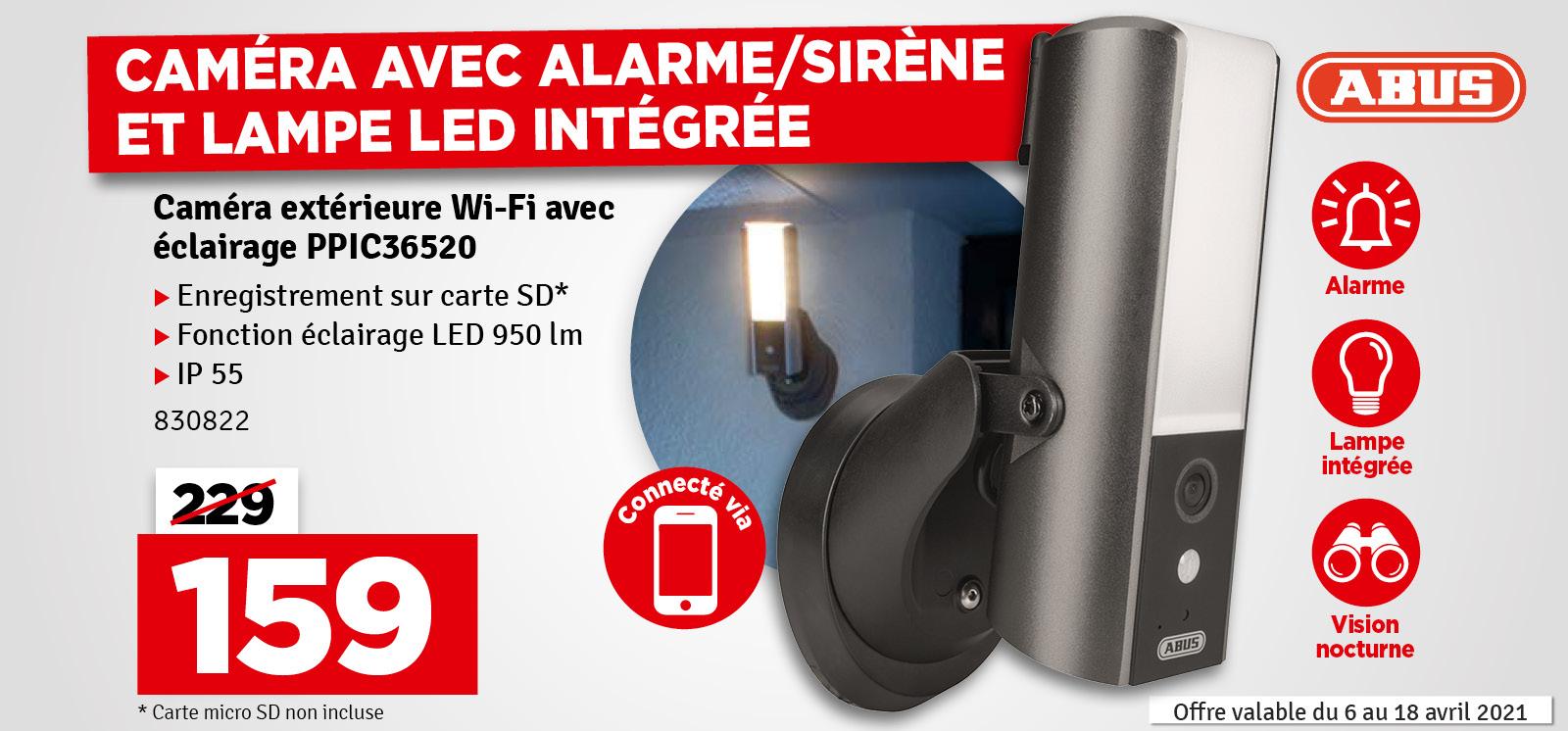 Promo - Caméra de surveillance extérieure avec éclairage PPIC36520 ABUS