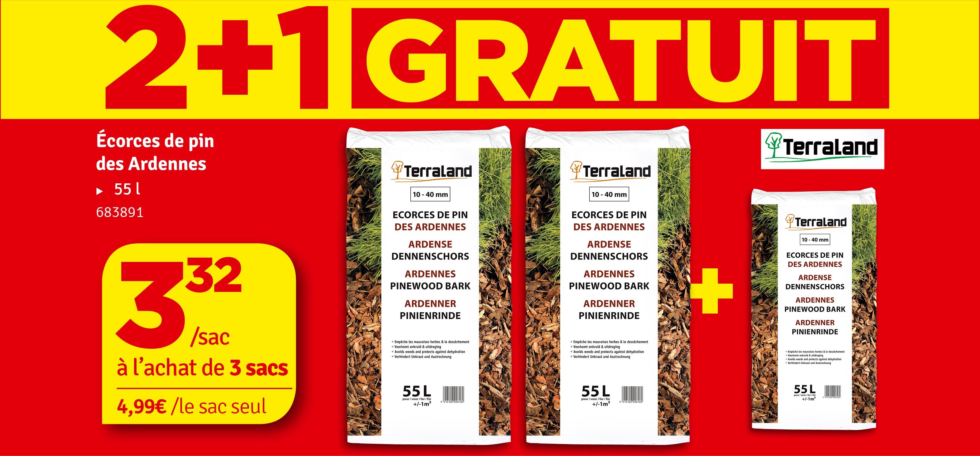 Promo - Ecorces décoratives de pins des Ardennes 55 L TERRALAND