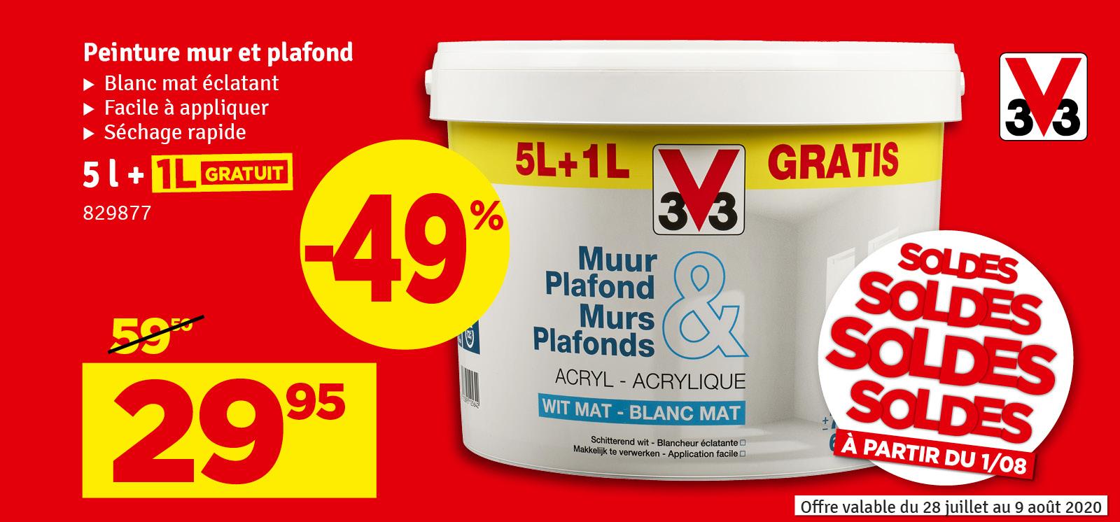 Promo - Peinture pour murs et plafonds blanc mat 6 L V33