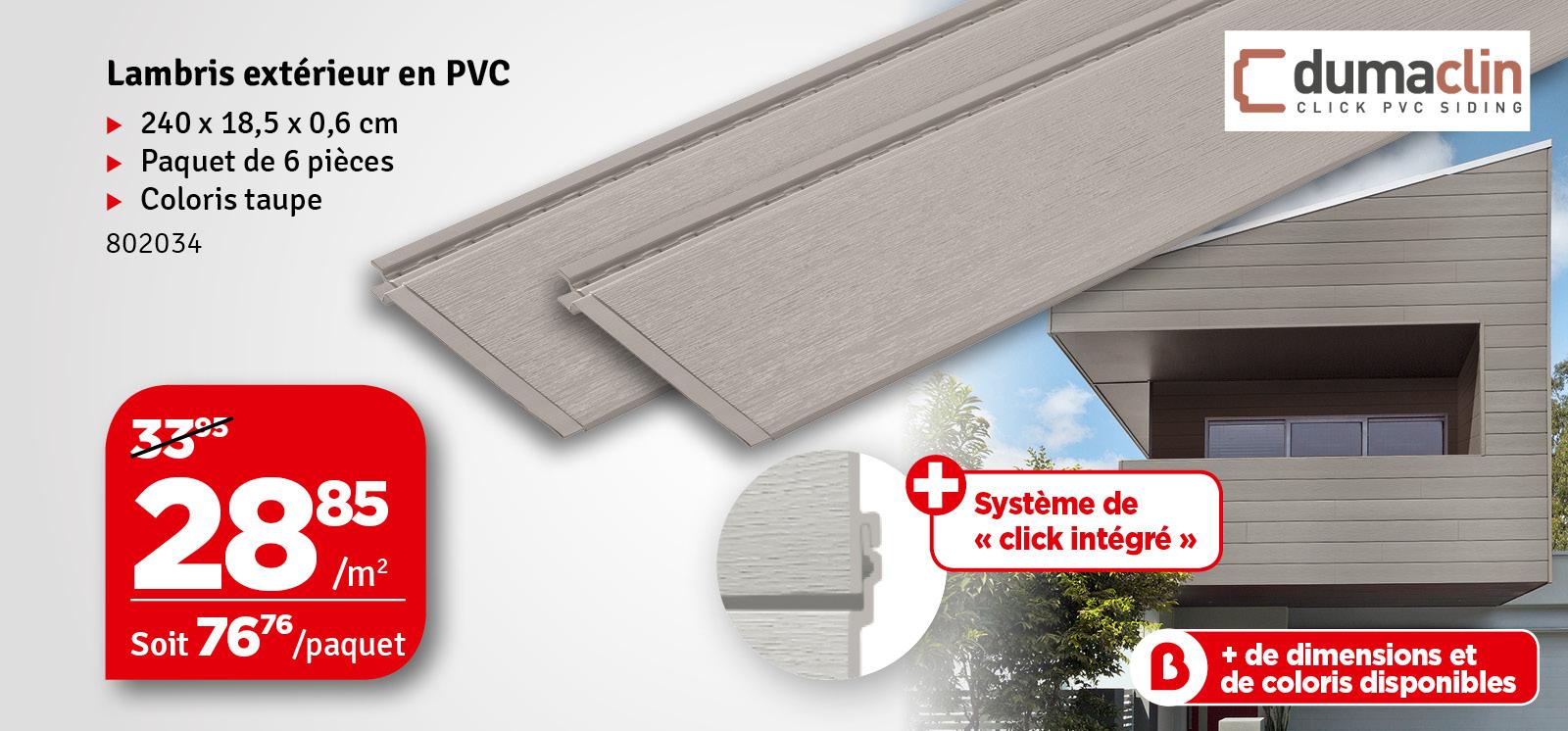 Promo - Lambris extérieur taupe en PVC 240 x 18,5 x 0,6 cm 6 pièces DUMACLIN