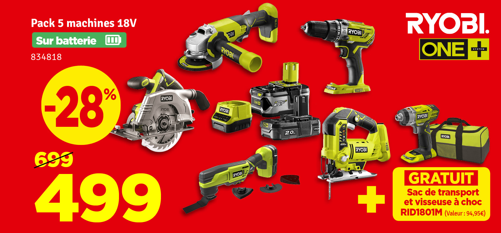 Promo - Pack machines R18CK5A-242S One+ 5 pièces RYOBI
