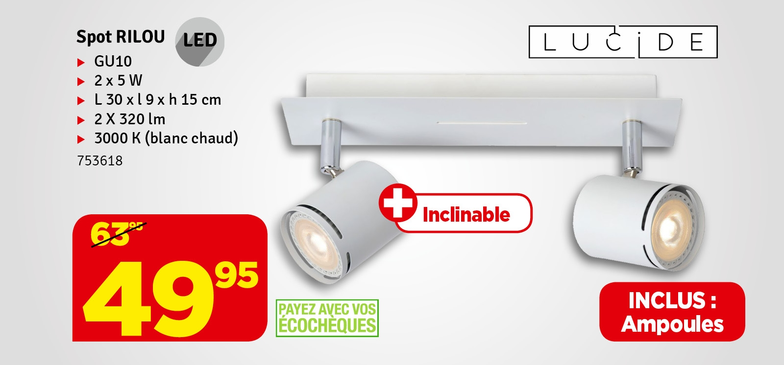 Promo - Spot LED Rilou GU10 4,5W 340 lm dimmable blanc chaud LUCIDE