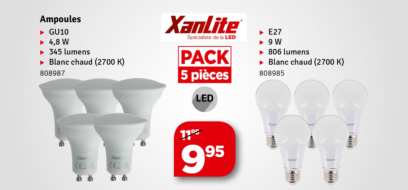Promo - Ampoule LED GU10 50 W 5 pièces XANLITE