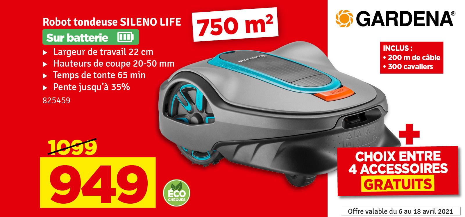 Promo - Tondeuse robot Sileno Life 750 GARDENA