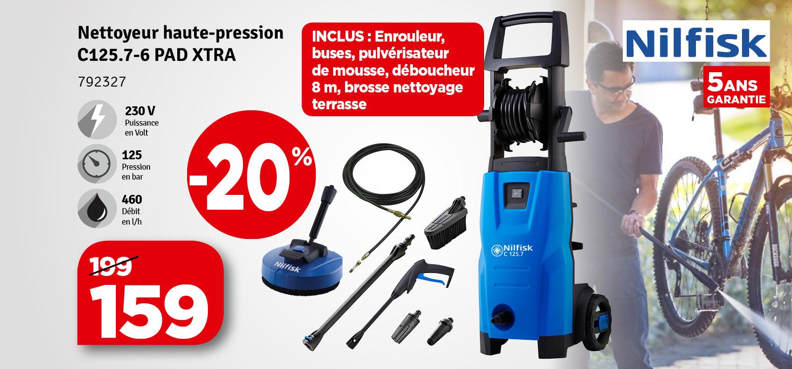 Promo - Nettoyeur haute pression C125.7-6 PAD Xtra 125 bars NILFISK