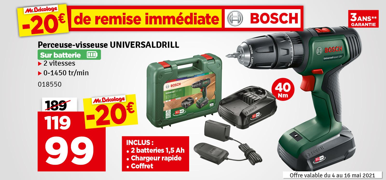 Promo - Perceuse visseuse sur batterie UniversalDrill 2 x 1,5 Ah 18 V BOSCH