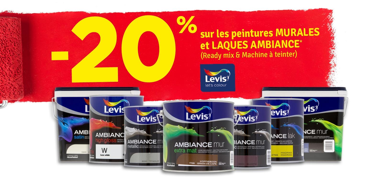 Promo - -20 % sur peintures murales et laques Ambiance LEVIS