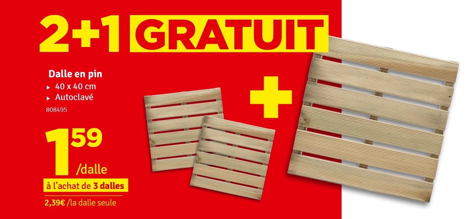 Promo - Dalle en bois 40 x 40 x 2,8 cm