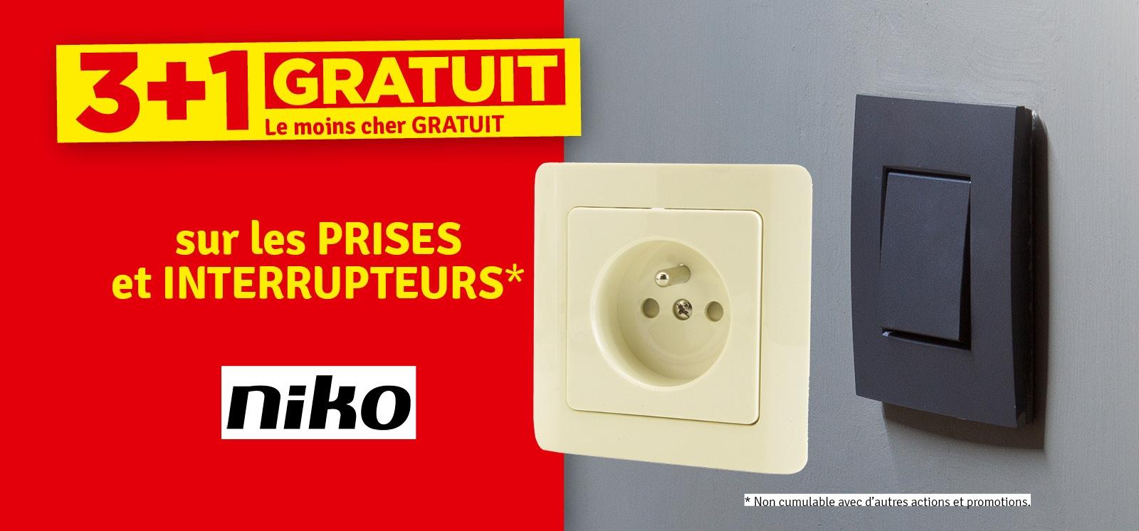 Promo - 3 + 1 gratuit Prises et interrupteurs NIKO