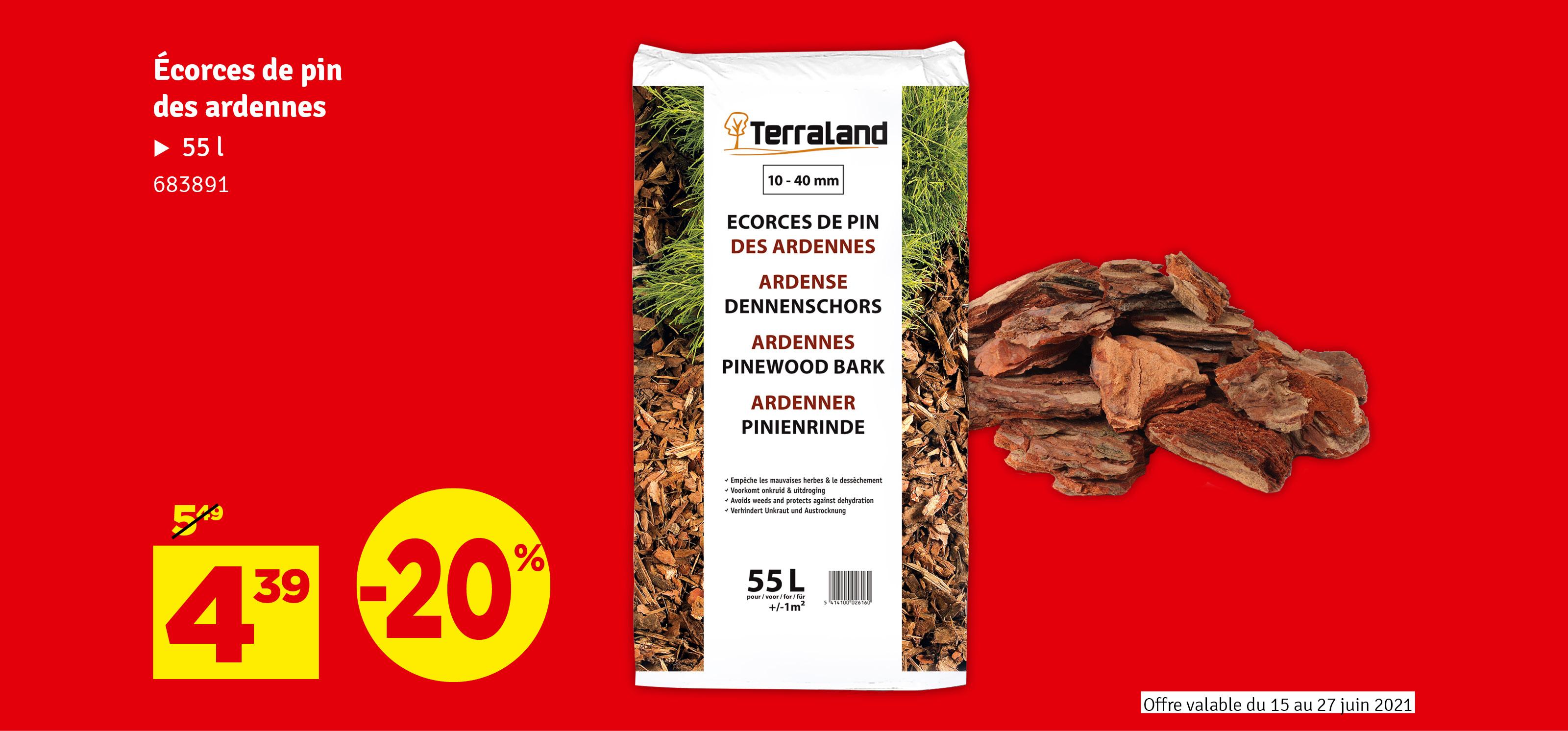 Promo - Ecorces de pins sylvestre des Ardennes 55 L TERRALAND