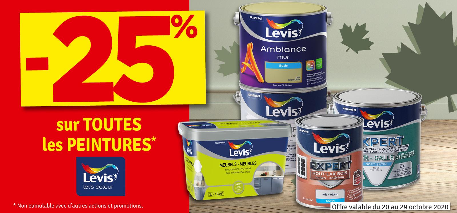 Promo - -25 % sur les peintures LEVIS