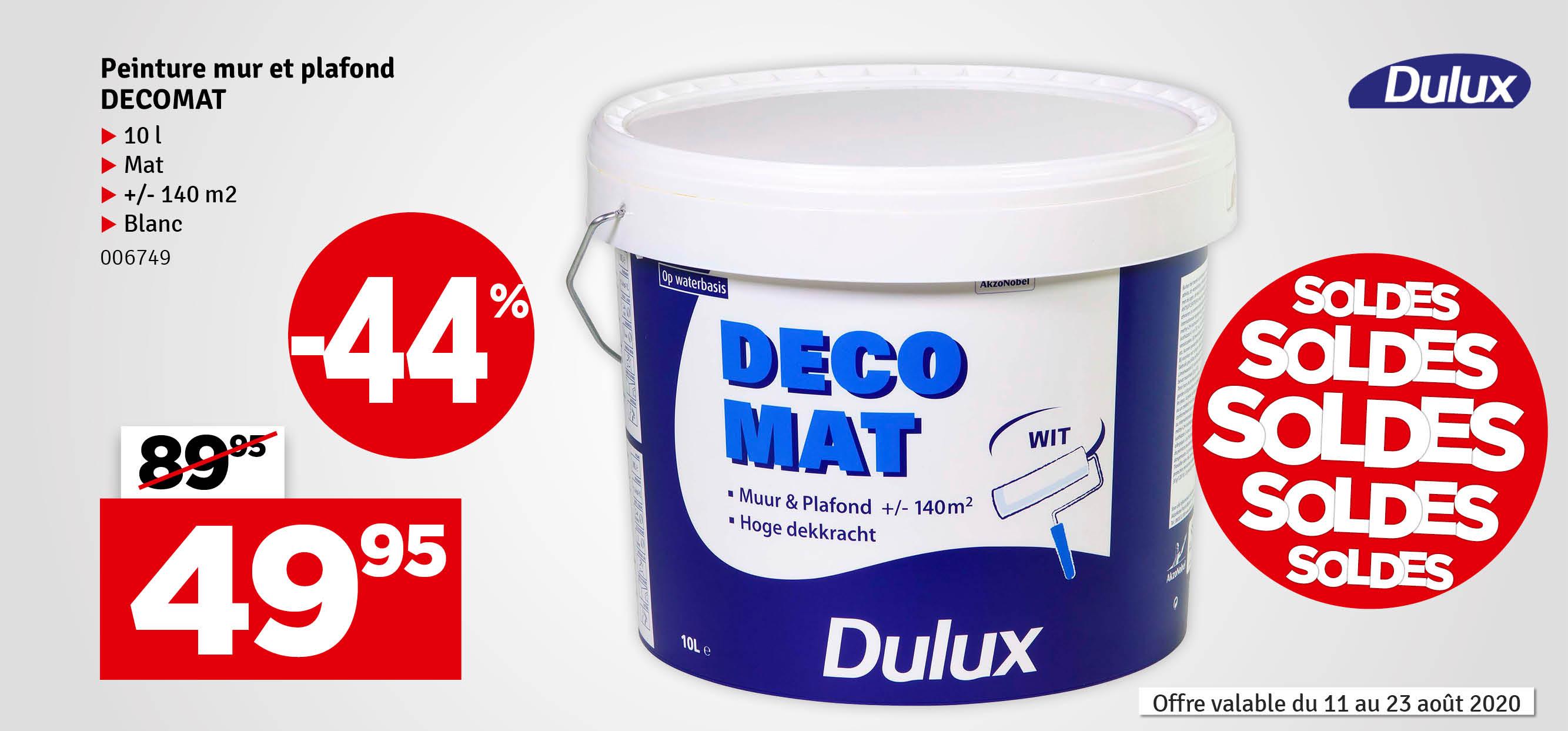 Promo - Peinture pour mur et plafond Decomat blanche mate 10 L DULUX