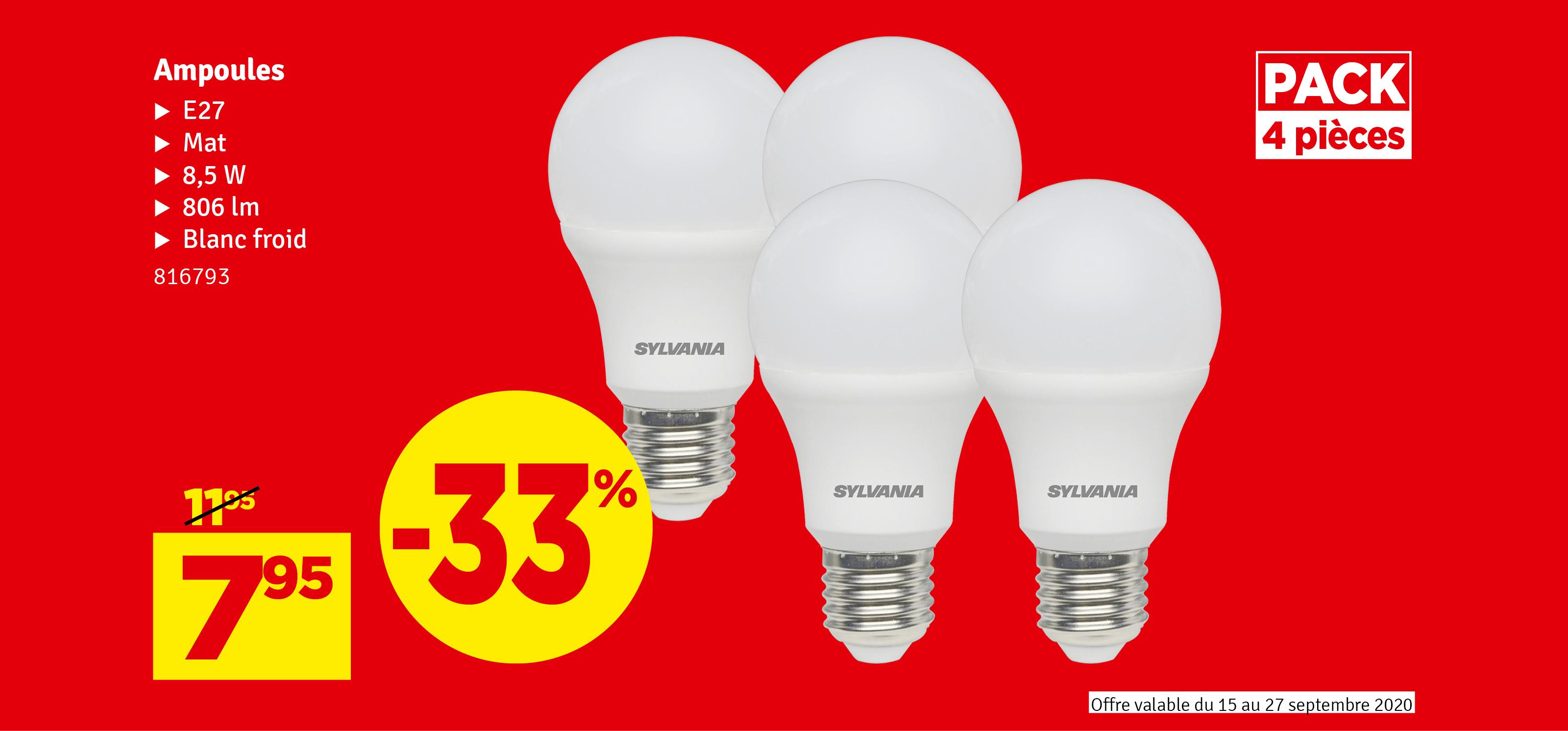 Promo - Set d'ampoule LED Toledo A60 E27 4 pièces SYLVANIA