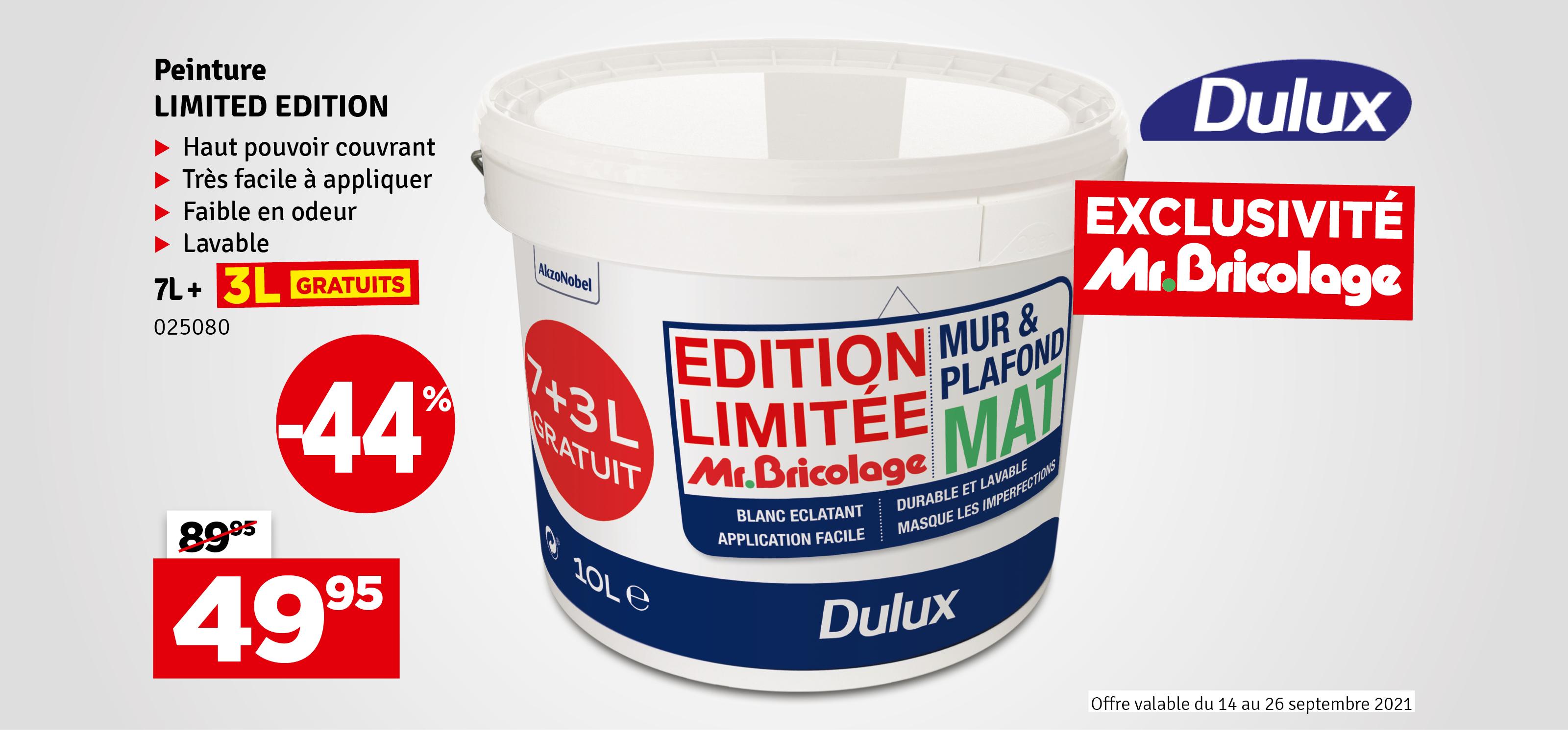 Promo - Peinture pour mur et plafond Blanc mat 7 + 3 L gratuit DULUX