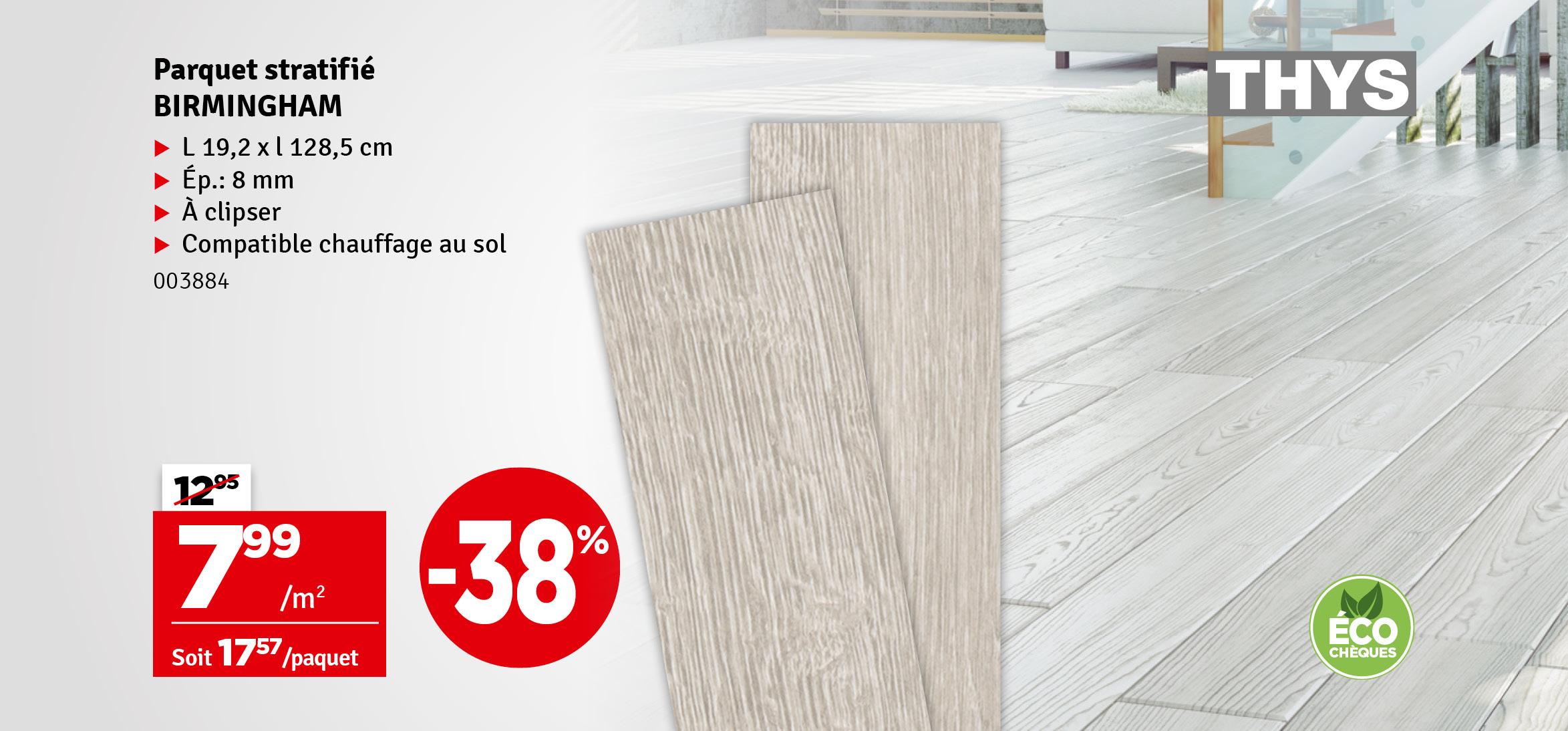 Promo - Sol stratifié Birmingham chêne gris cérusé 2,22 m² THYS