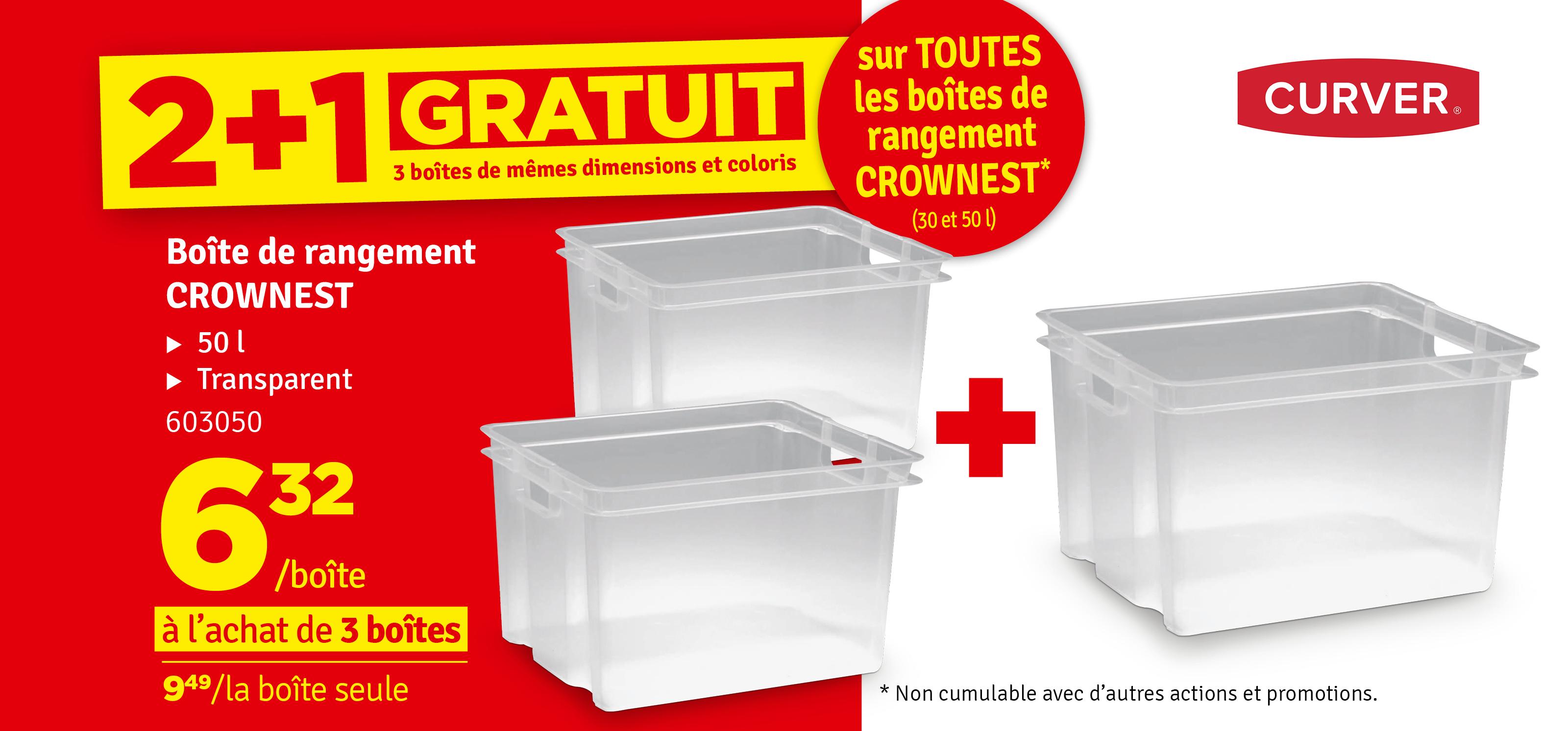 Promo - Bac de rangement empilable Crownest transparent 50 L KETER