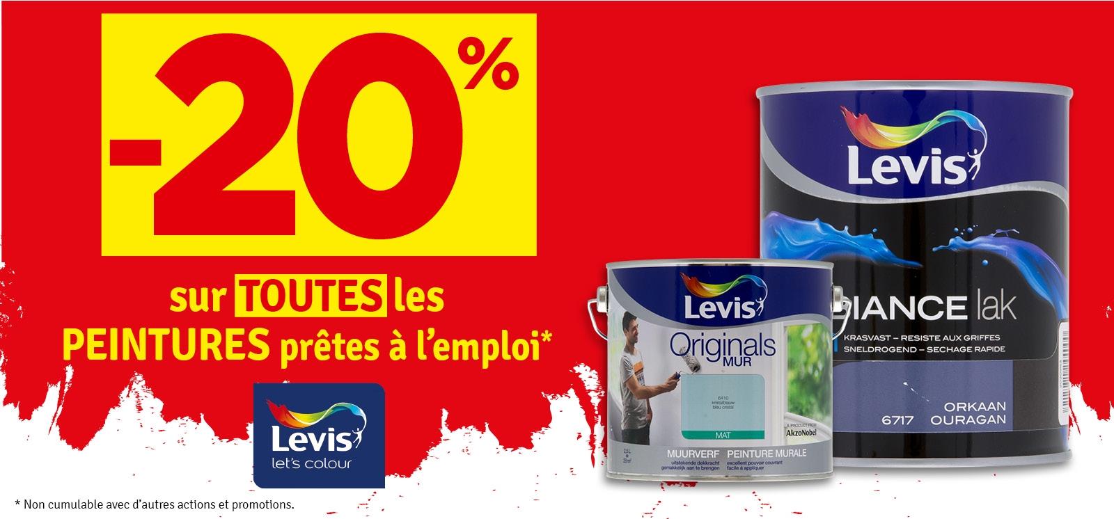 Promo - -20% sur toutes les peintures prêtes à l'emploi LEVIS