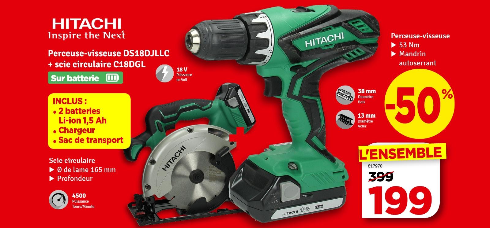 Promo - Pack perceuse visseuse avec scie circulaire sur batterie HITACHI