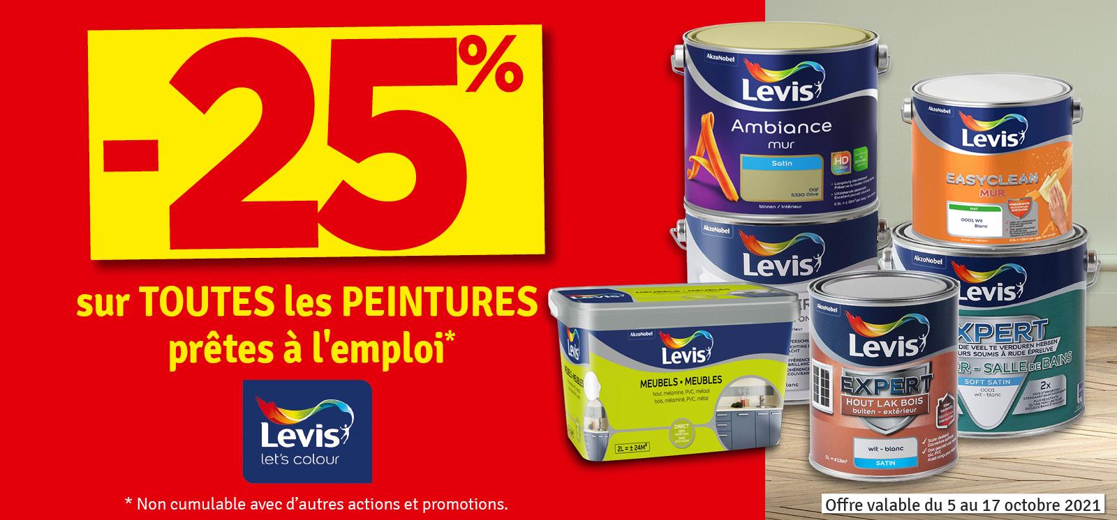 Promo - 25% sur les peintures Levis prêtes à l'emploi