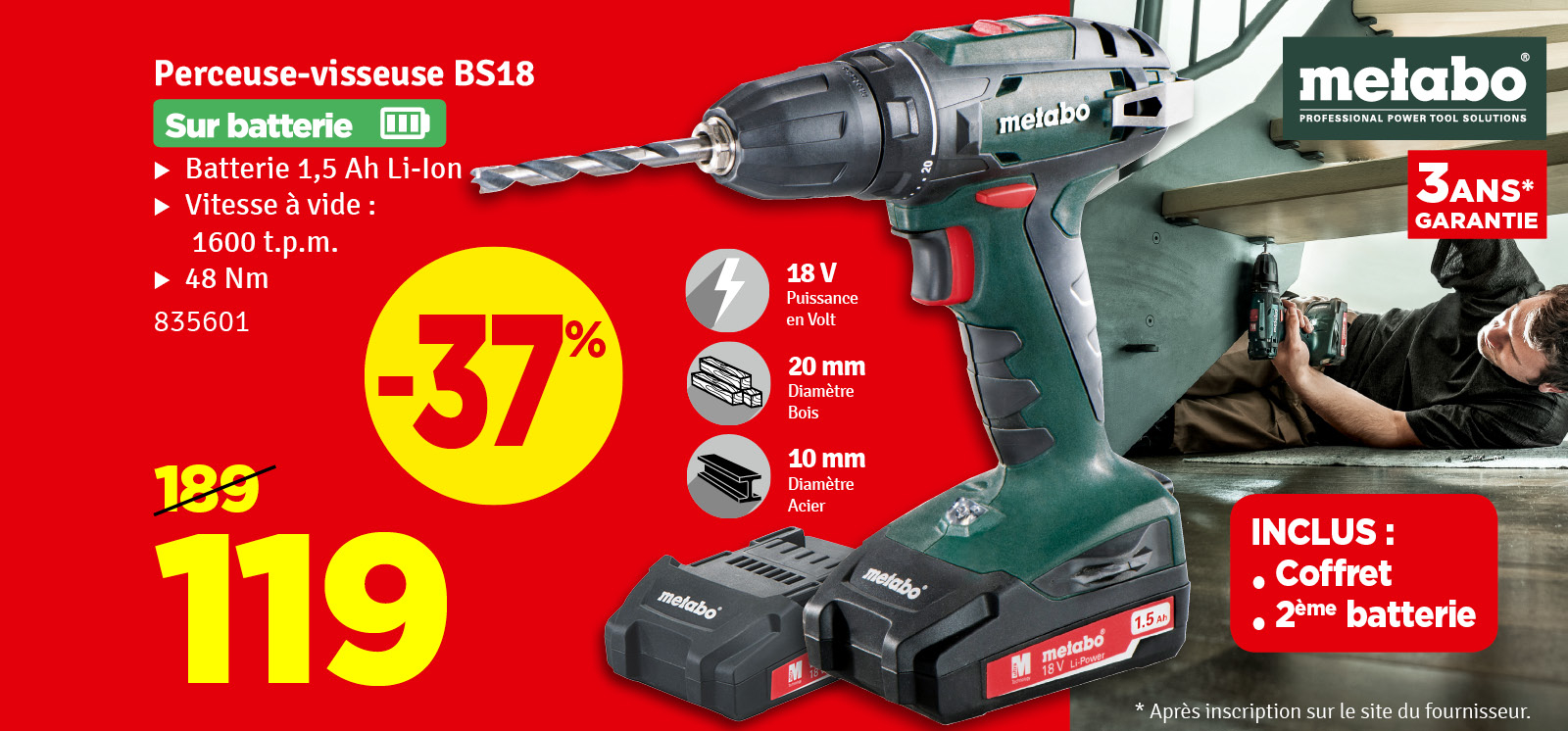 Promo - Perceuse visseuse BS18 18 v 2 x 1,5 Ah METABO