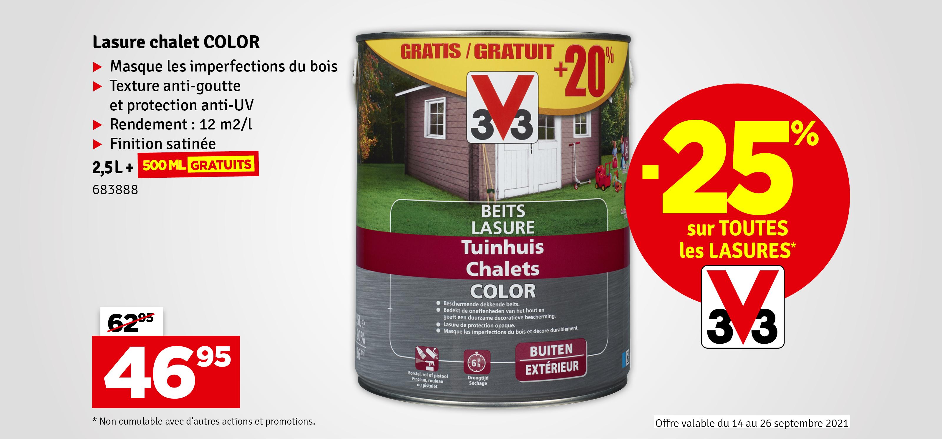 Promo - Lasure Chalets Color 2,5 + 0.5 L Promopack V33