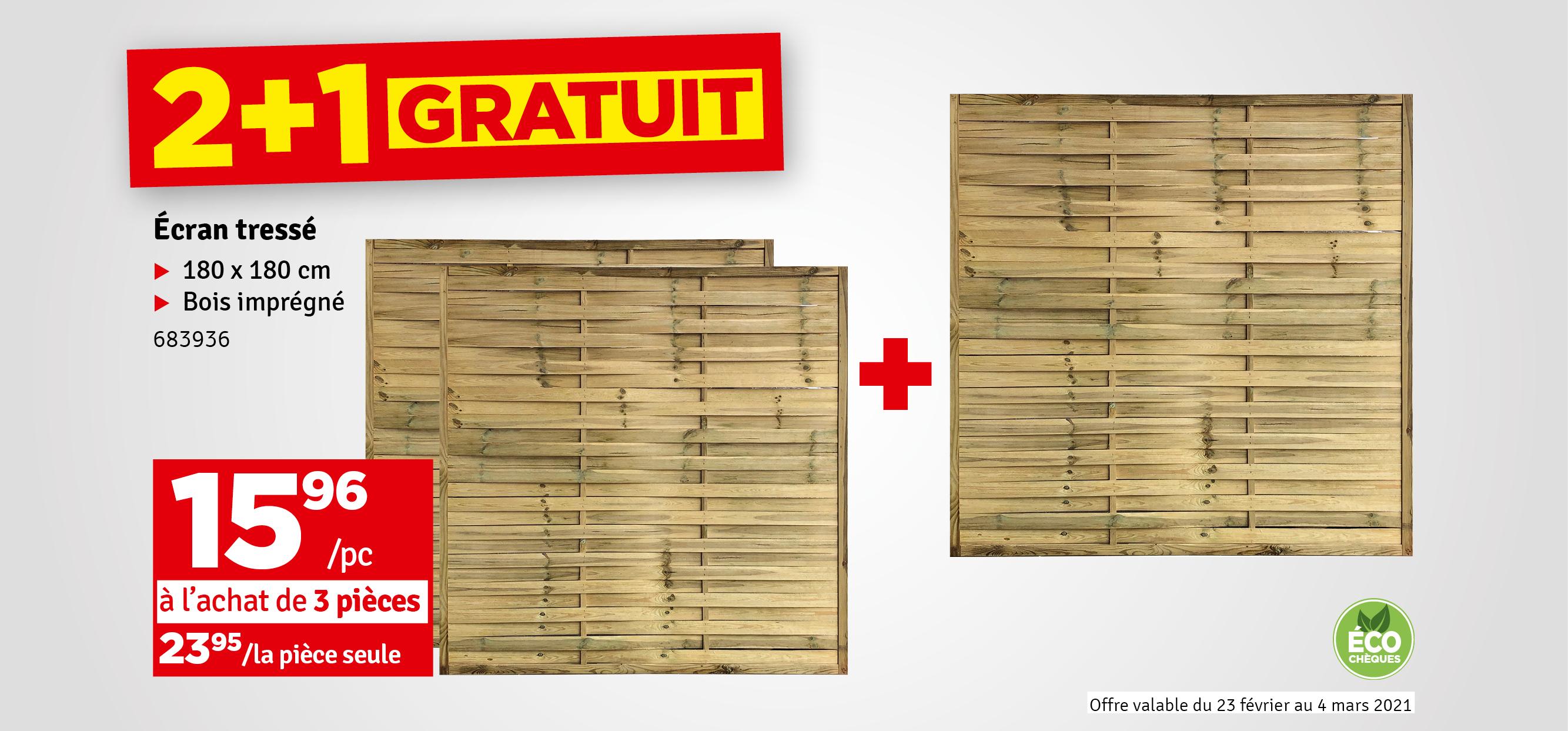 Promo - Ecran tressé avec cadre 180 x 180 cm SOLID